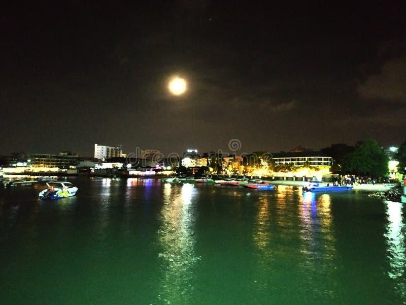 Een het strandmening van de volle maannacht stock afbeeldingen