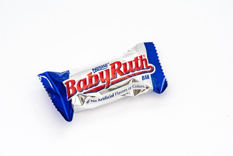 Een het suikergoedbar van Babyruth stock afbeeldingen