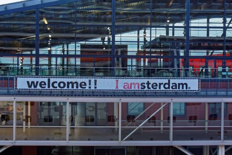 Een het Welkom heten Teken bij het Station van Amsterdam royalty-vrije stock fotografie