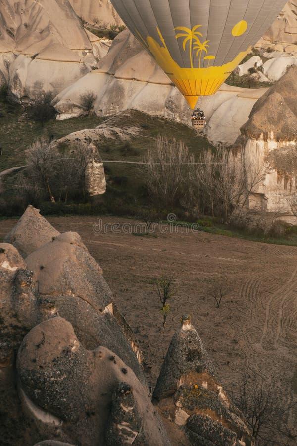 Een hete luchtballon die in een vallei van rotsen vliegen stock afbeelding