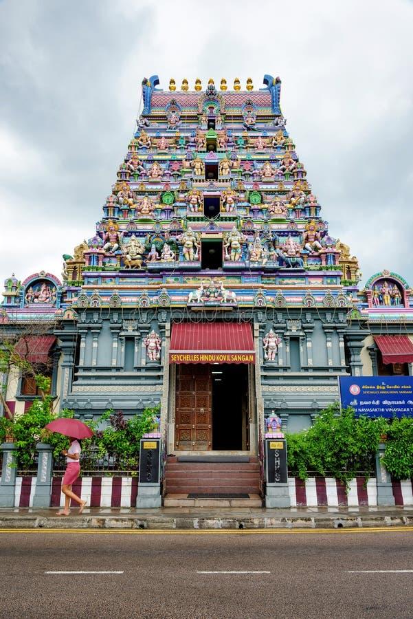 Een Hindoese tempel in de hoofdstad van Victoria van Seychellen stock foto's