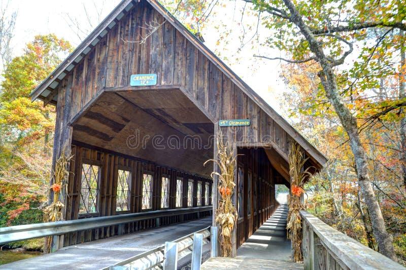 Een historische behandelde brug in Smokies in daling stock foto