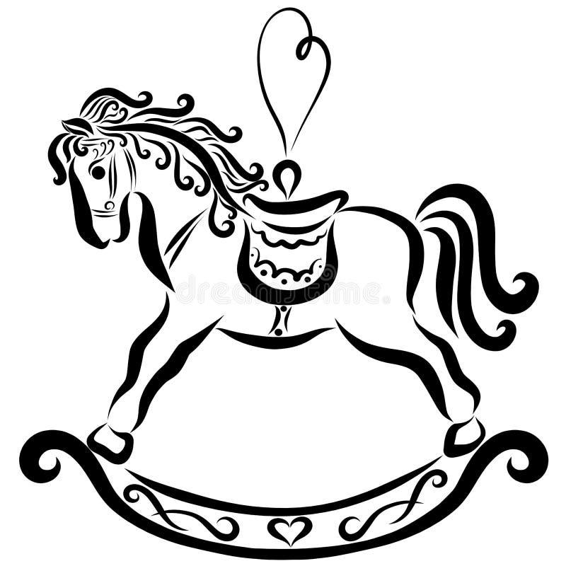 Een hobbelpaard met een hart gaf lijn, een keychain of een boom t gestalte royalty-vrije illustratie
