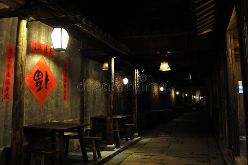 Een hoek van de nachtsteeg wuzhen binnen, zhejiang provincie royalty-vrije stock afbeeldingen