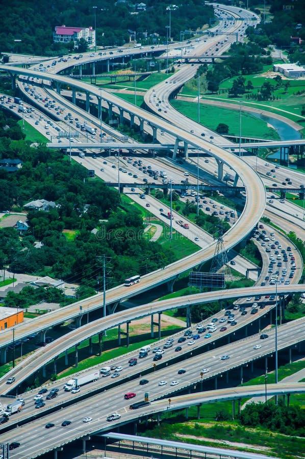 Een hoge mening van de wegen van Houston royalty-vrije stock afbeelding