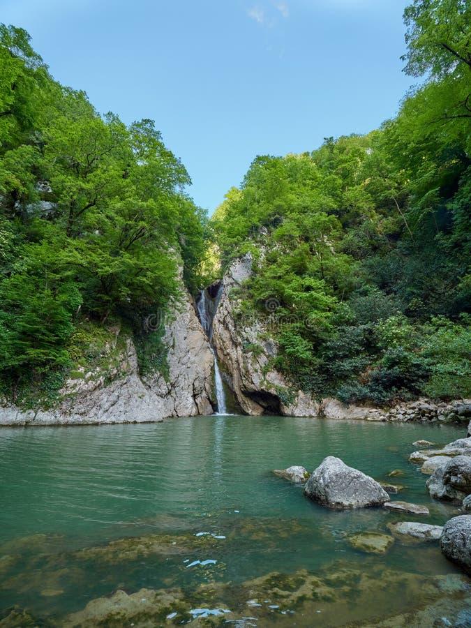 Een hoge waterval valt van een klip in een duidelijk meer De waterval wordt omringd door groen bos stock afbeelding