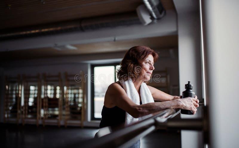 Een hogere vrouw in gymnastiek die na het doen van oefening rusten De ruimte van het exemplaar royalty-vrije stock fotografie