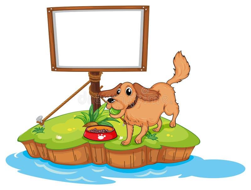 Een hond dichtbij een lege raad vector illustratie