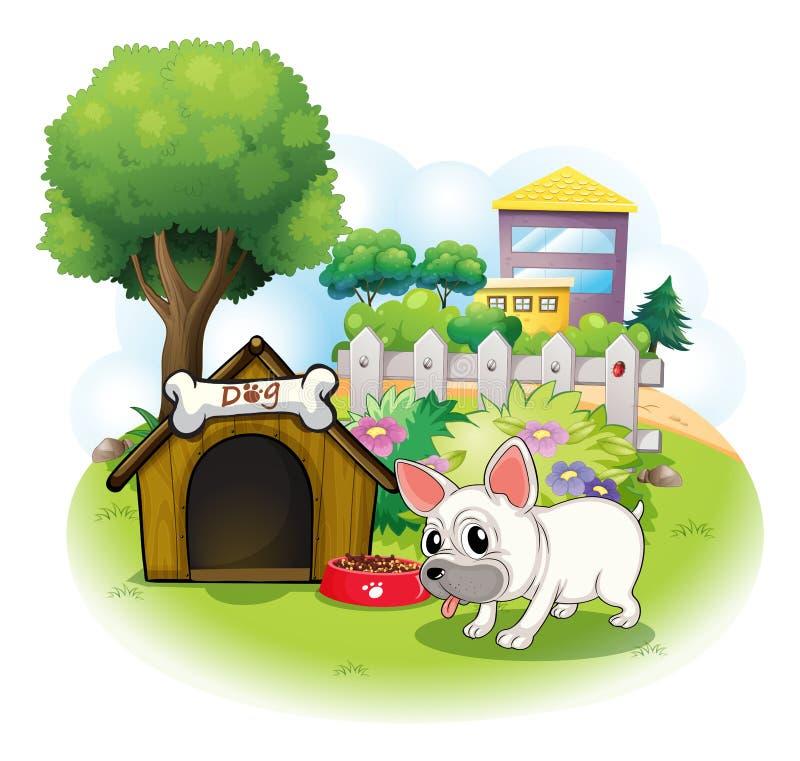 Een hond en zijn hondehok binnen de omheining stock illustratie