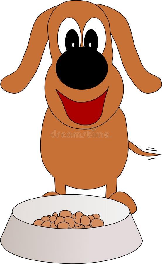 Een hond geniet van het het voer van ` s royalty-vrije illustratie