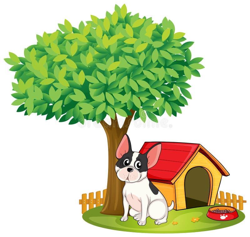 Een hondehok en een hond onder een boom stock illustratie