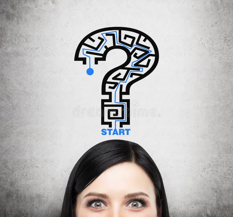 Een hoofd van donkerbruine dame die over probleem het oplossen denkt Een vraagteken als labyrint royalty-vrije stock afbeeldingen