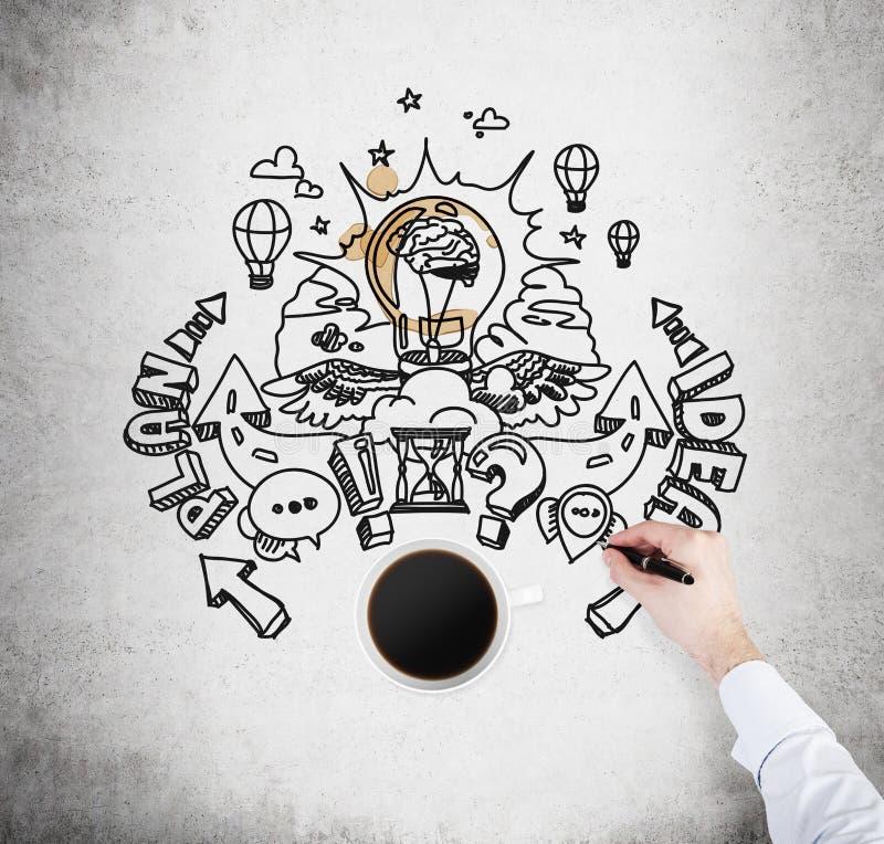 Een hoogste mening van een kop van koffie en een hand die een schets van het ontwikkelen van een nieuw businessplan trekt Een con royalty-vrije stock afbeelding