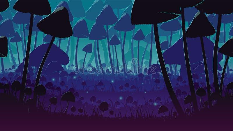 Een hoogte - kwaliteits horizontale naadloze achtergrond van landschap met diep paddestoelbos royalty-vrije illustratie