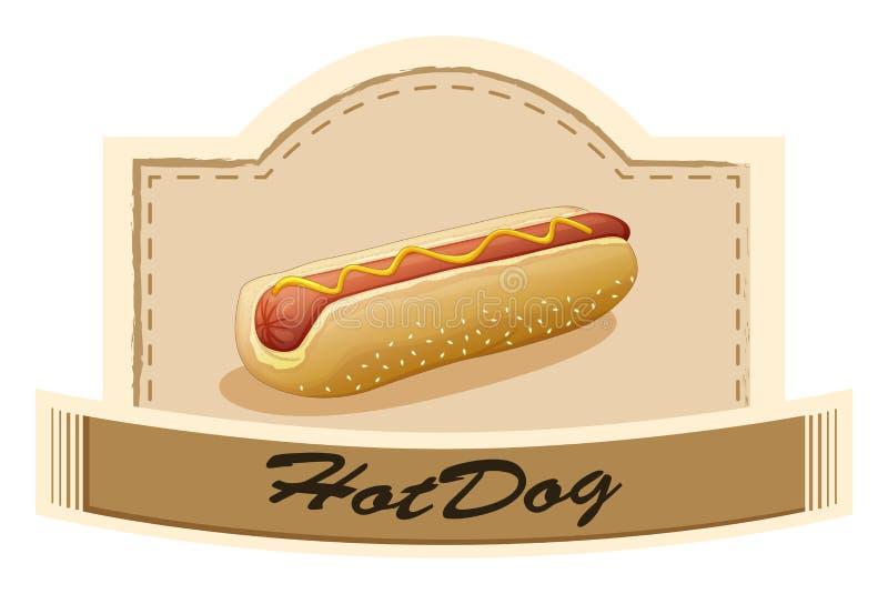 Een hotdogetiket stock illustratie