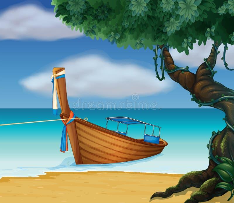 Een houten boot bij de kust royalty-vrije illustratie