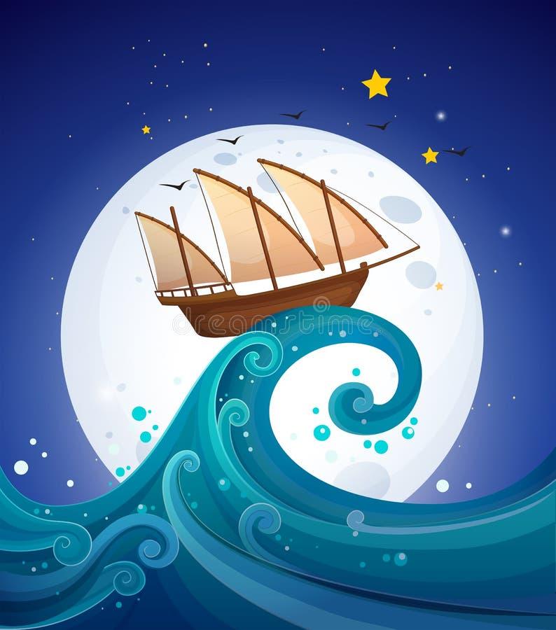 Een houten boot boven de hoge golf stock illustratie