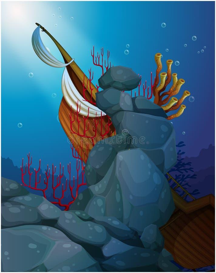Een houten boot onder het overzees dichtbij de koraalriffen vector illustratie