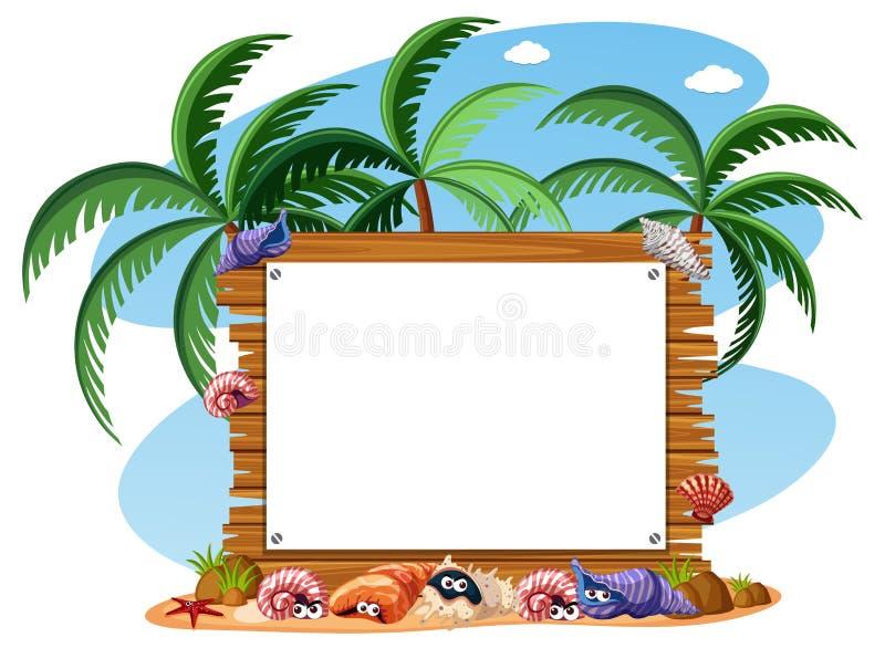 Een houten de zomerraad vector illustratie