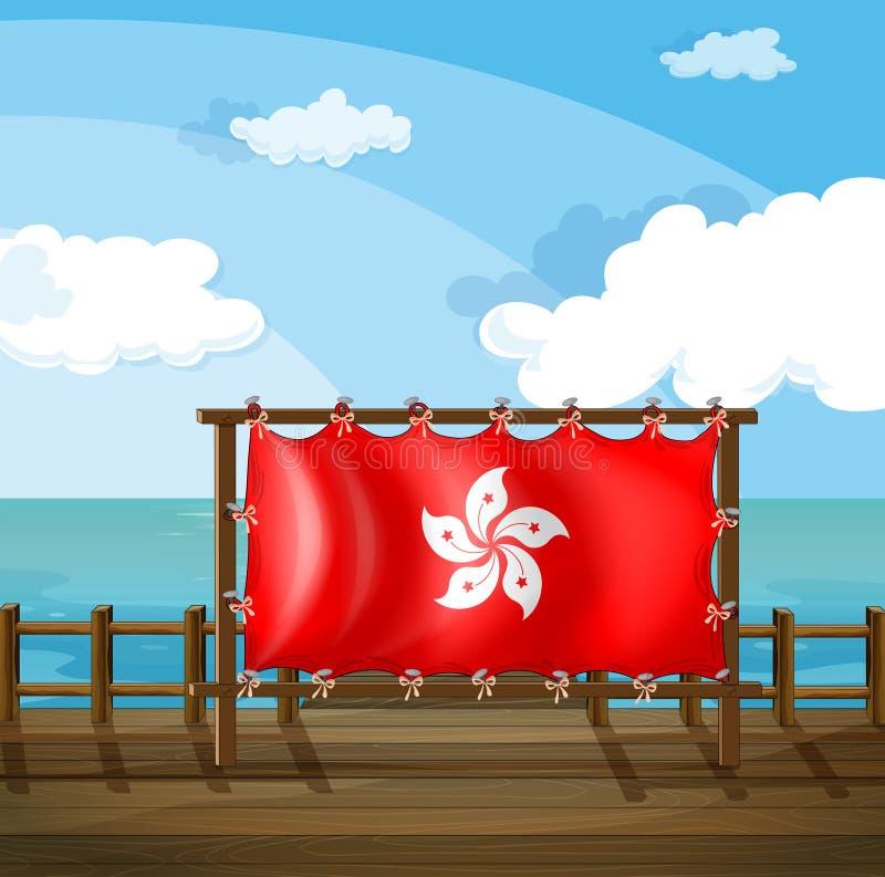 Een houten kader bij brug met vlag van Hong Kong vector illustratie