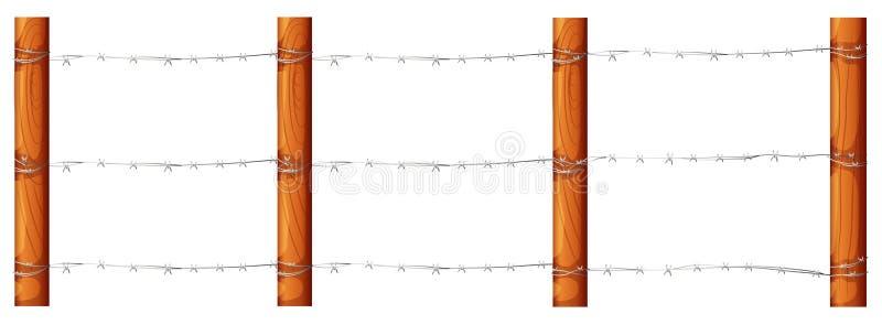 Een houten omheining met barbwires stock illustratie