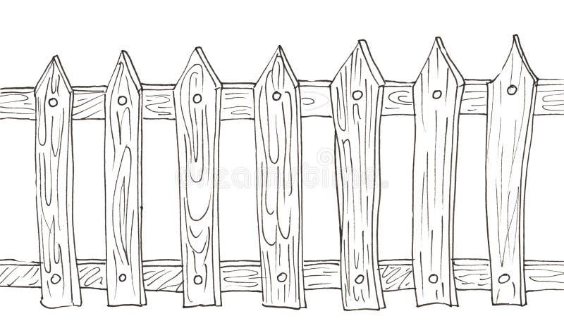 Een houten omheining in zwart-wit vector illustratie