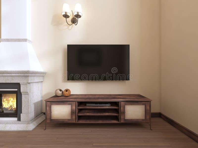 Een houten TV-eenheid door de open haard vector illustratie