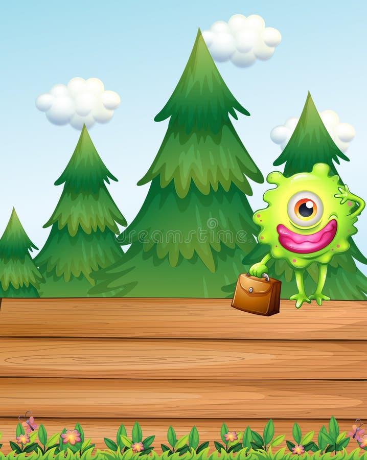 Download Een Houten Uithangbord Met Een Monster Vector Illustratie - Illustratie bestaande uit karakter, hoeken: 39116880