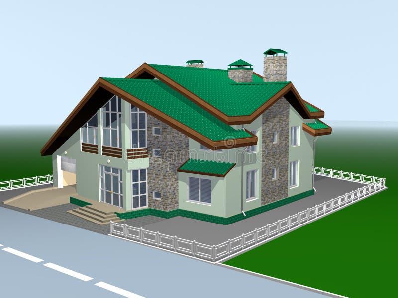 Een huis voor familie van is twee storeyed. vector illustratie