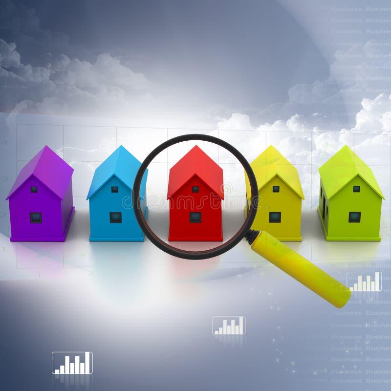Een huis zoek stock illustratie