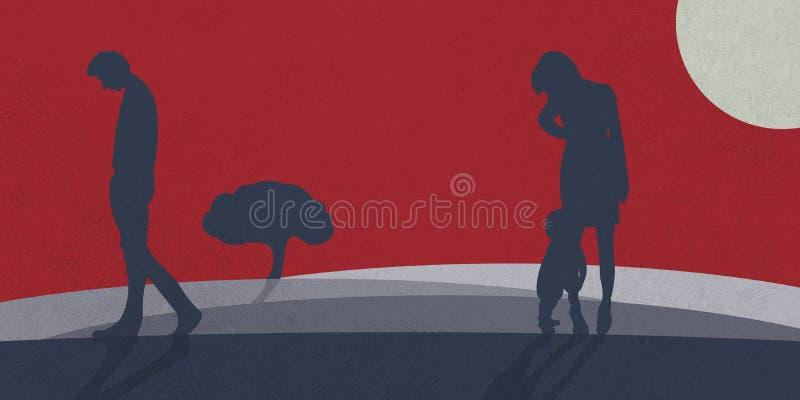 Een huiselijke man verlaat zijn familie vector illustratie