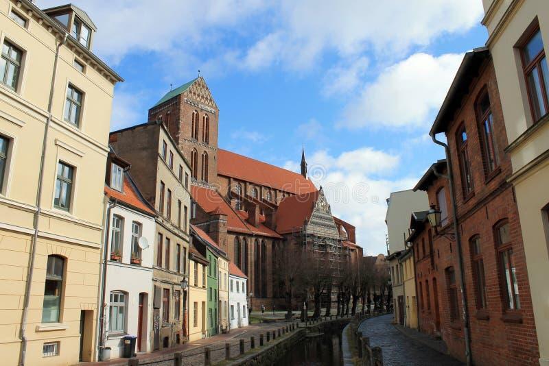 Een huislijn in Wismar stock afbeelding