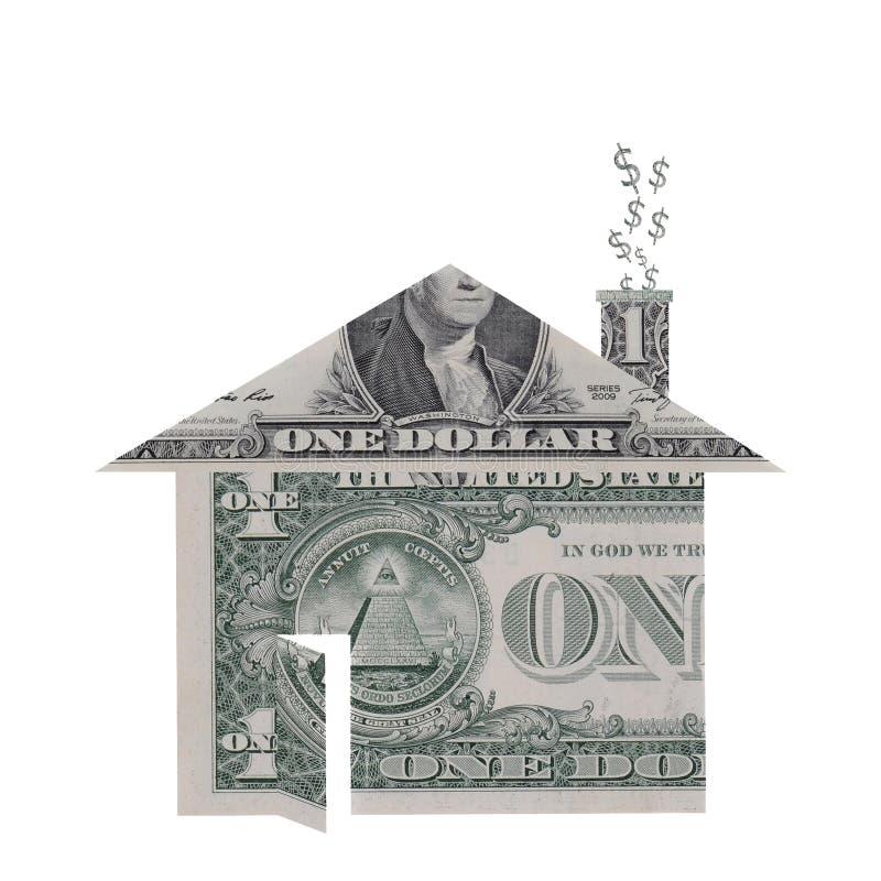 De Vorm van het huis die van de Rekeningen van de Dollar wordt gemaakt stock foto