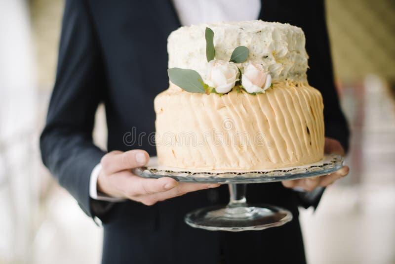 Een huwelijkscake royalty-vrije stock afbeelding