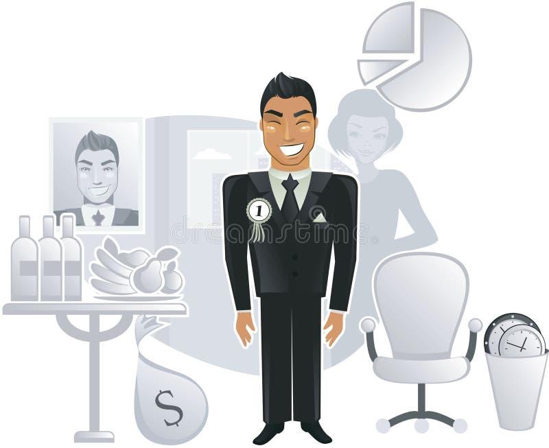 Een ideaal bureau met een gelukkige arbeider in vector stock illustratie