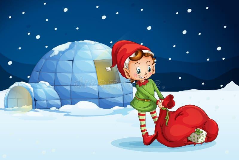 Een iglo en een jongen stock illustratie