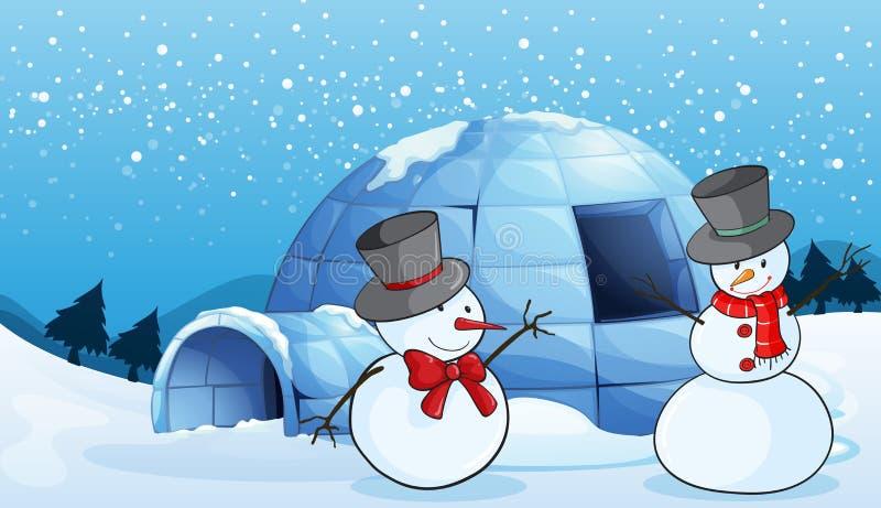 Een iglo en sneeuwmannen vector illustratie