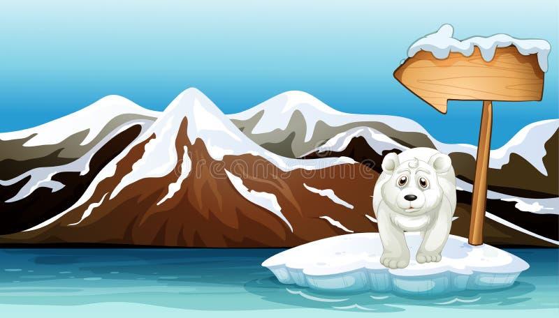 Een ijsbeer boven de ijsberg met een uithangbord royalty-vrije illustratie