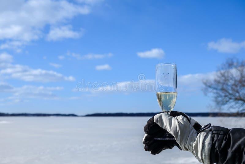 Een ijskoude toosttoejuichingen met dikke de winterhandschoenen royalty-vrije stock foto