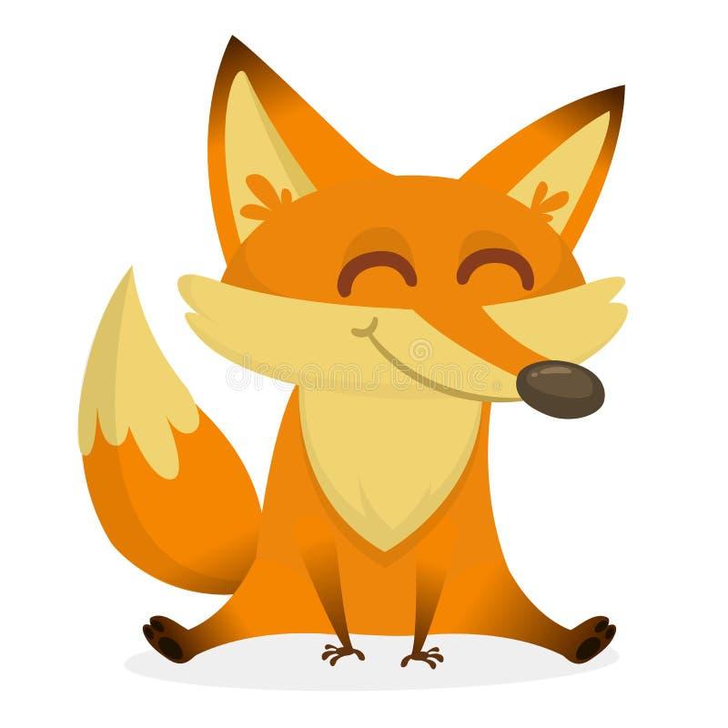 Een illustratie die een leuk rood vosbeeldverhaal afschilderen EPS 8 vector royalty-vrije illustratie