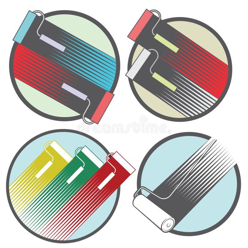 een illustratie die uit vier verschillende beelden van de kleurende rollen bestaan vector illustratie