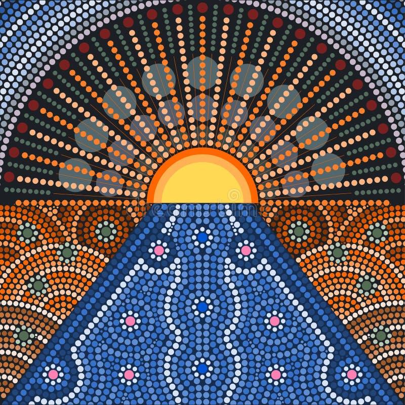 Een illustratie op inheemse stijl van punt het schilderen wordt gebaseerd die stock illustratie