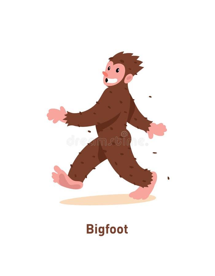 Een illustratie van een beeldverhaal aardige Bigfoot Vector illustratie Bruine Bigfoot loopt Het beeld is geïsoleerd op witte ach vector illustratie