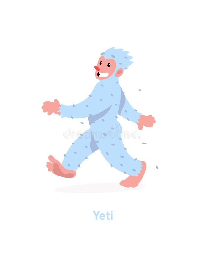 Een illustratie van een beeldverhaalyeti Vector illustratie Een lopende witte yeti komt Het beeld is geïsoleerd op witte achtergr royalty-vrije illustratie