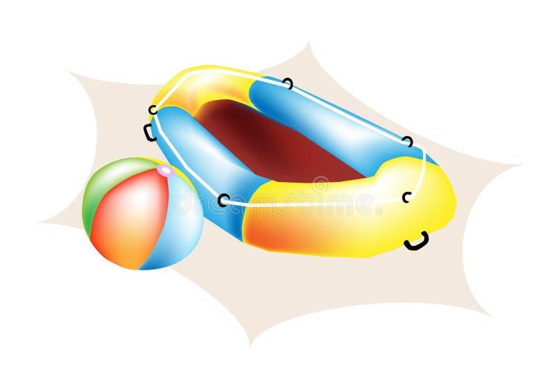 Een illustratie van de Bal van het Strand en Opblaasbare Boot vector illustratie