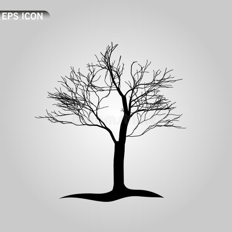 Een illustratie van een eng naakt zwart boomsilhouet vector illustratie