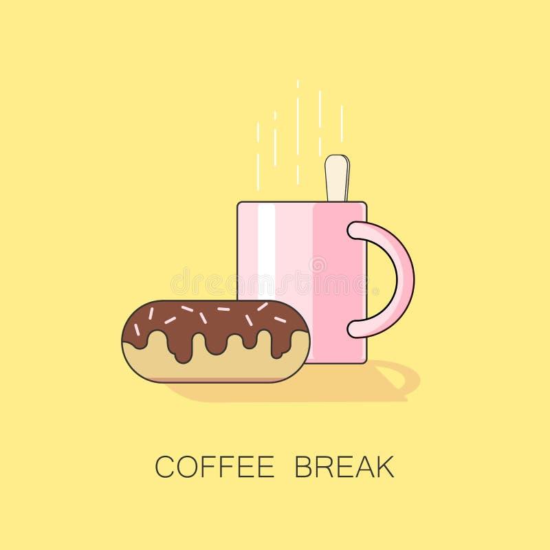 Een illustratie van koffiepauze met kop van koffie of thee en een chocoladedoughnut stock illustratie