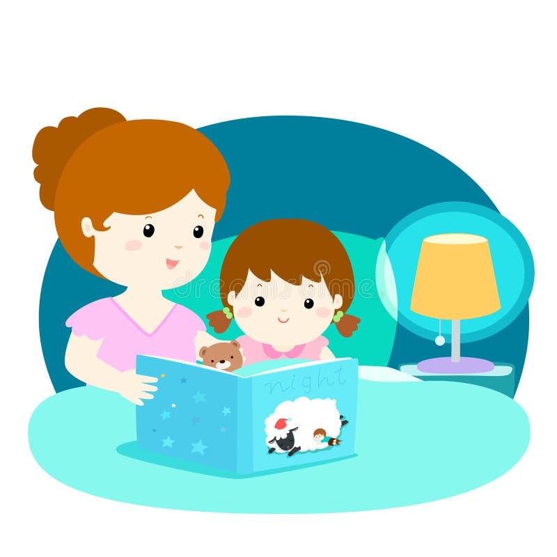Een illustratie van een moeder die een bedtijdverhaal leest aan haar stock illustratie