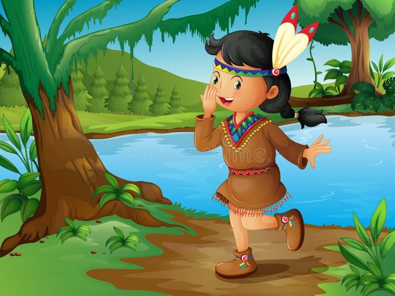 Een Indisch meisje in het bos stock illustratie