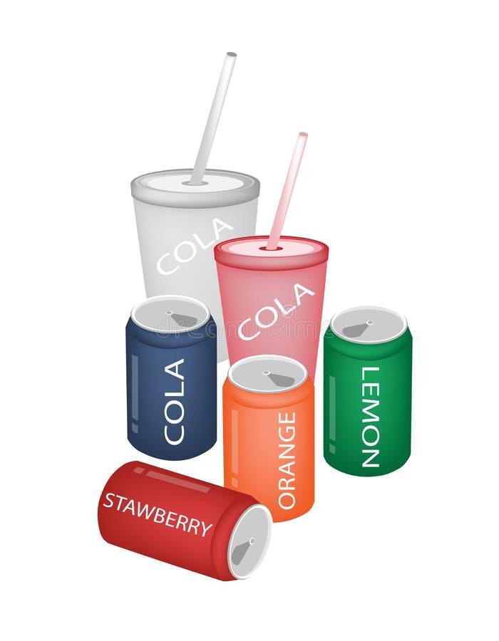 Reeks van het Verfrissen van de Dranken van de Soda in Diverse Verpakking vector illustratie
